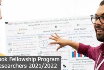 Facebook Fellowship Program for Researchers 2021/2022: (Deadline 20 September 2021)