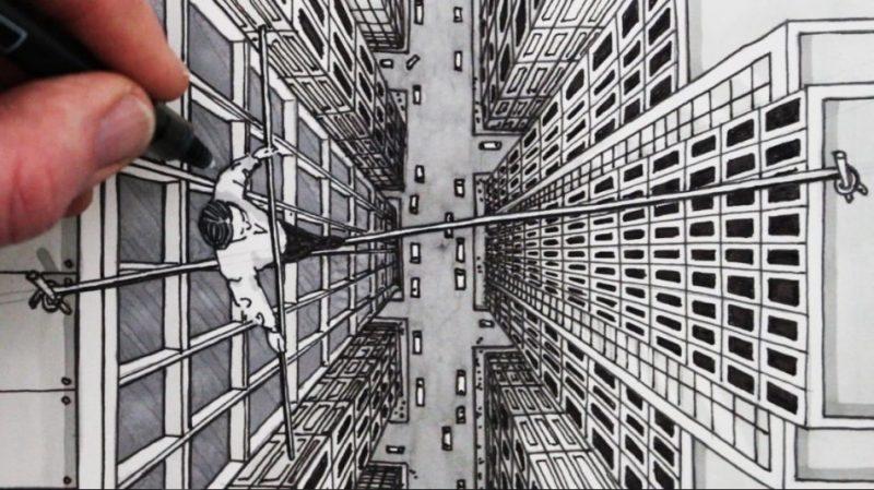 Gambar gedung dan orang menyebrang diatas gedung, yang merupakan teknik menggambar perspektif