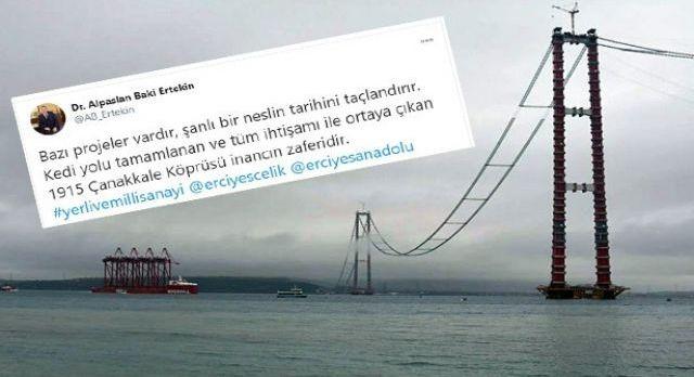 Dev köprünün çelik hatları Kayseri'den
