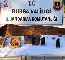 Bursa Mudanya'da 3 milyon lira değeri olan tarihi eser ve objeler ele geçirildi