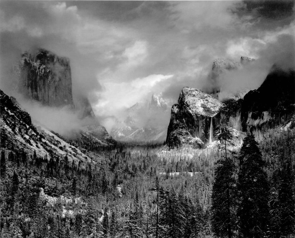 mountain valley Art Ansel Adams Photography Travel storm Clearing Black and white Yosemite California
