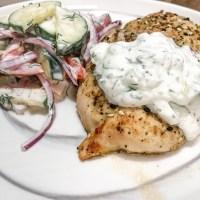 Greek Chicken with Creamy Cucumber Tomato Salad and Tzatziki Sauce