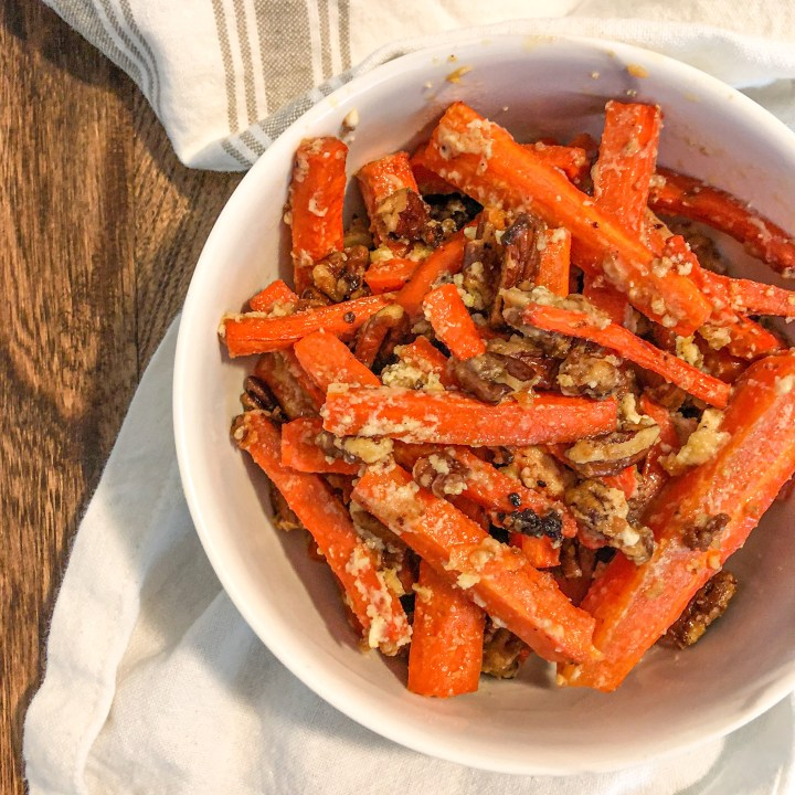 Pecan, Brown Sugar, and Goat Cheese Roasted Carrots