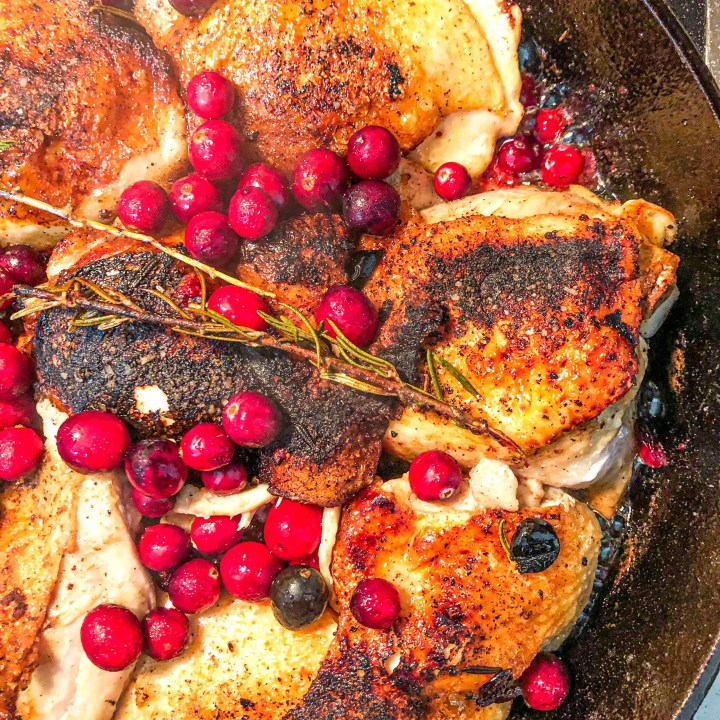 Cranberry Rosemary Crispy Chicken Thighs