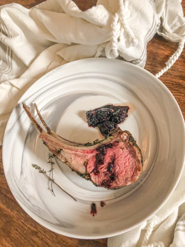 Herbed Butter Rack of Lamb with Blackberry Red Wine Reduction