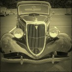 Here's the Bonnie and Clyde car front end, /not/ as viewed by squirrels crossing the road.