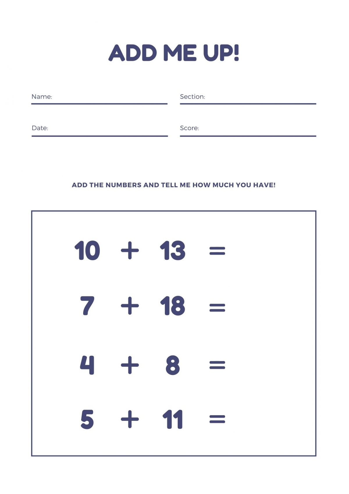 Math Worksheets For Kids Archives