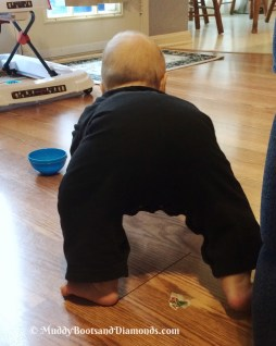 baby crawling on feet