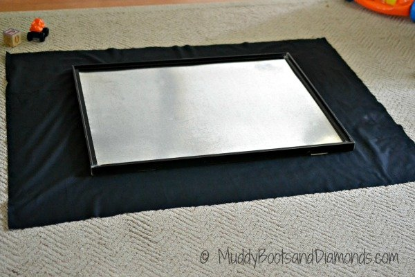 Galvanized Sheet Metal on Black Fabric DIY Magnet Board