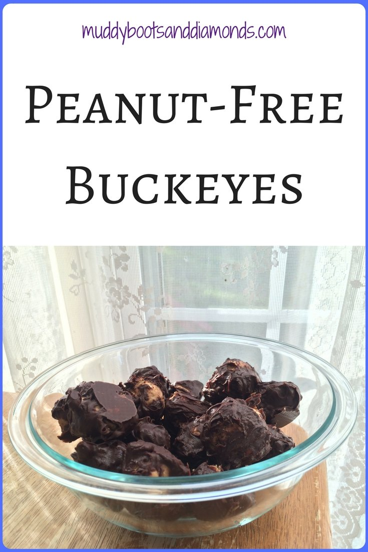 Sunbutter is a great alternative to peanut butter for making Buckeyes for people with nut allergies | Sunbutter Buckeyes via muddybootsanddiamonds.com