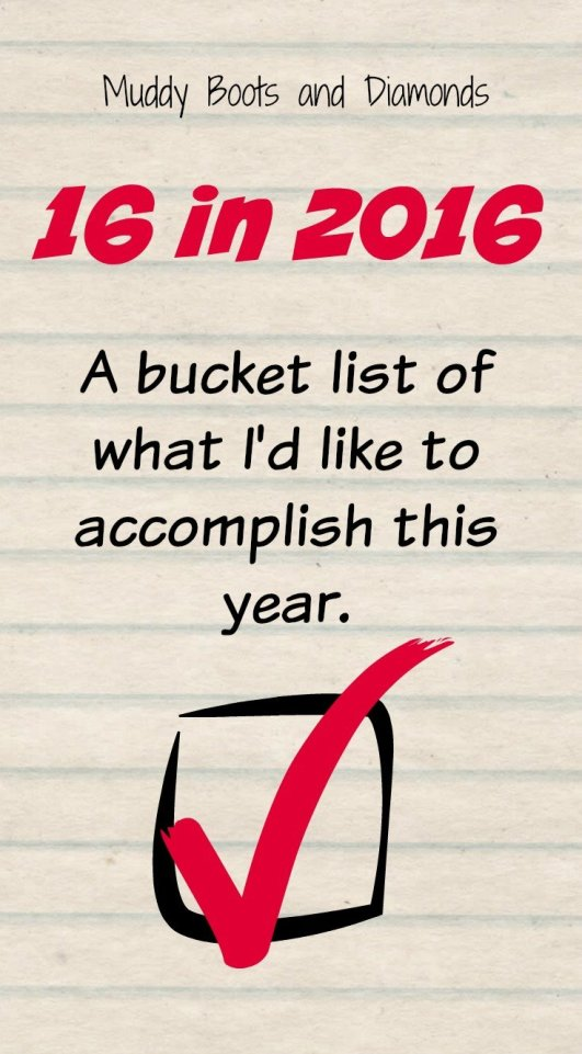 16 in 2016 A bucket List of What I'd LIke to Accomplish this year via muddybootsanddiamonds.com