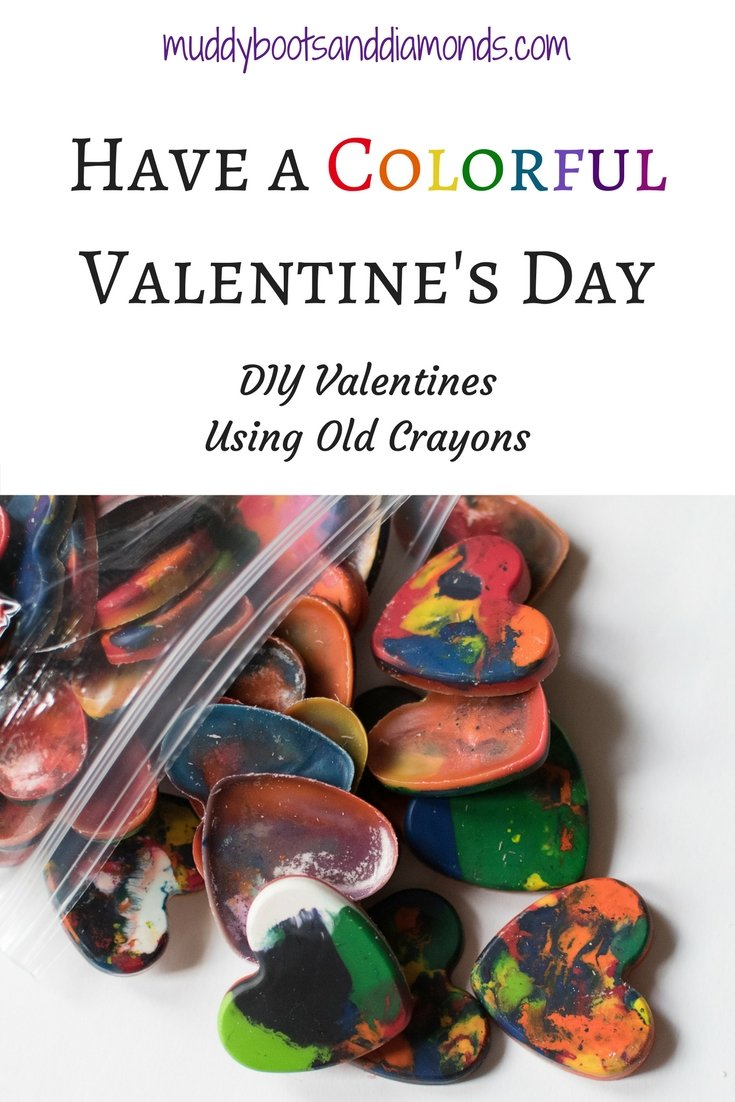 Have a Colorful Valentine's Day: DIY Valentines using old crayons via muddybootsanddiamonds.com