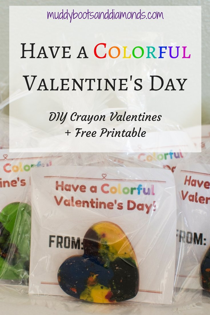 Have a Colorful Valentine's Day DIY Crayon Valentines and Free Printable via www.muddybootsanddiamonds.com