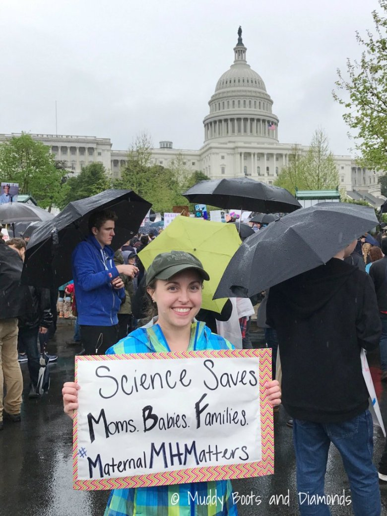 March for Science 2017 #MaternalMHMatters via muddybootsanddiamonds.com