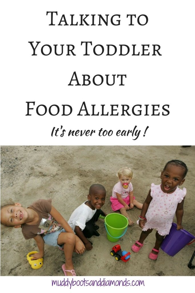 1 in 13 children have a food allergy, which means teaching children about how to be a good friend or classmate to those with food allergies is important | How To Teach Your Toddler to be Food Allergy Aware via muddybootsanddiamonds.com #FoodAllergy #Preschool