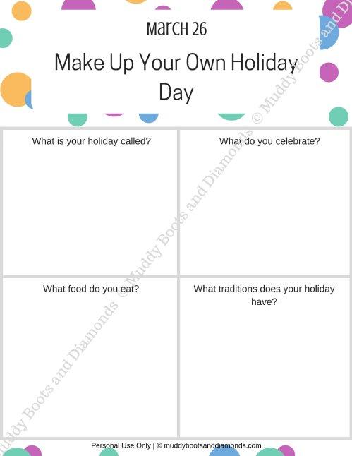 Make Up Your Own Holiday Day Worksheet watermarked via muddybootsanddiamonds.com
