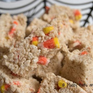 candy-corn-rice-krispie-treats-with-peanut-free-candy-corn via muddybootsanddiamonds.com