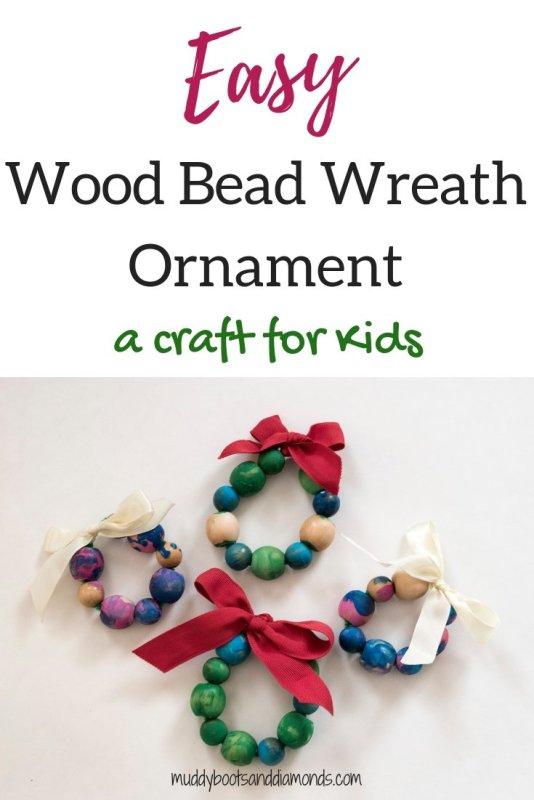 Easy Wood Bead Wreath Ornament craft for kids via muddybootsanddiamonds.com