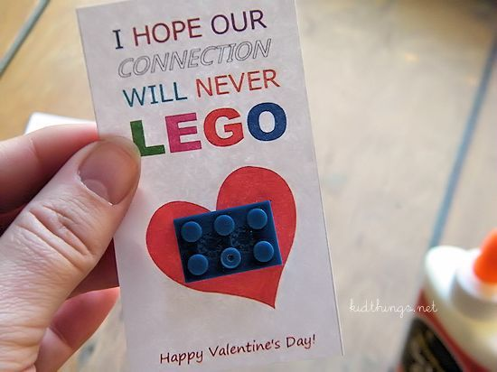 Lego Valentines via Our Kid Things blog | Candy-Free Valentine's Day Cards via muddybootsanddiamonds.com