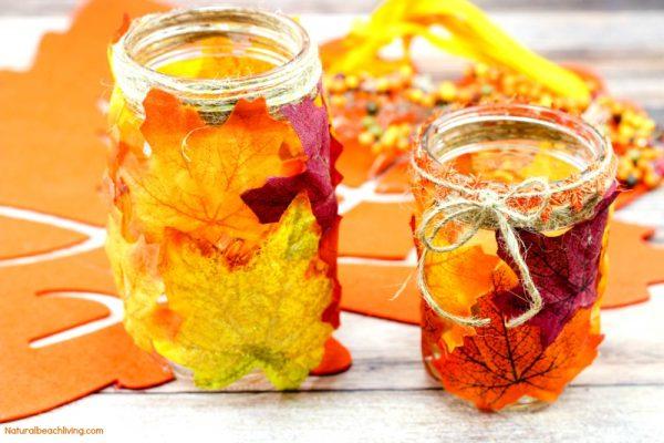 Mason Jar Candle Holder Autumn Leaves