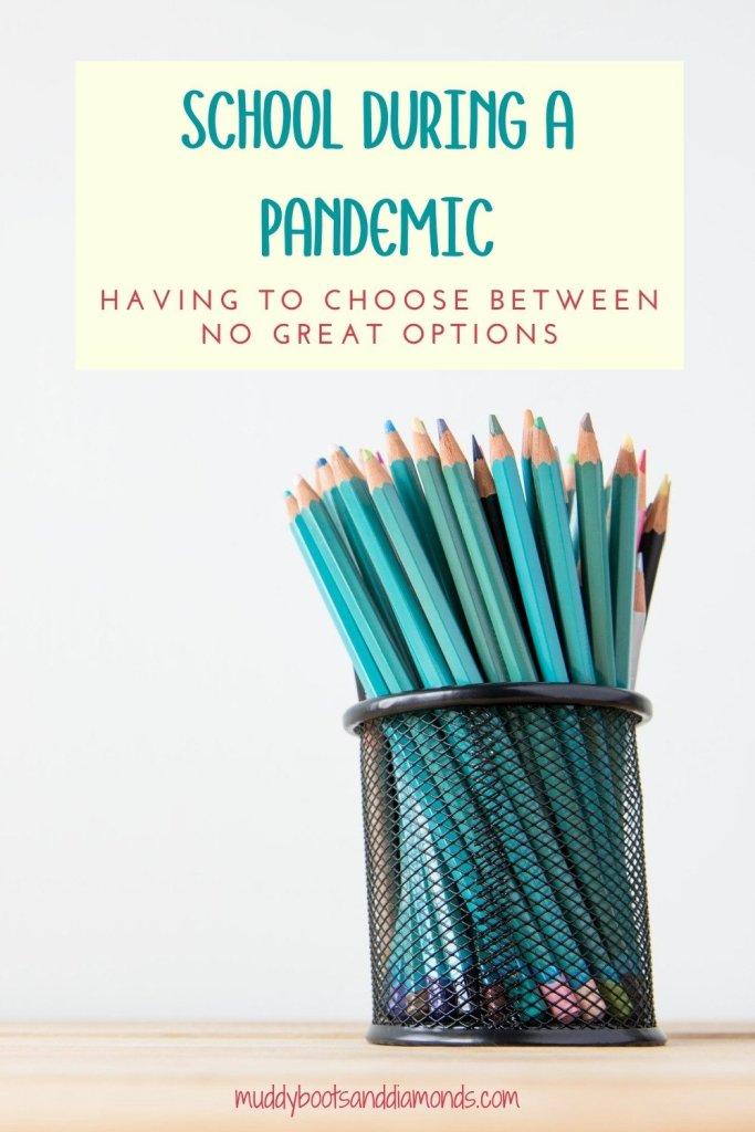 Sharpened Pencils in wire Pencil Holder School During a Pandemic pinterest image via muddybootsanddiamonds.com