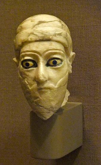 Head of a Ruler Third Dynasty of Ur Bismaya Temple Gypsum bitumen 2000-2050 BCE
