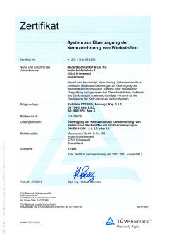 Certification for transferring the marking of materials