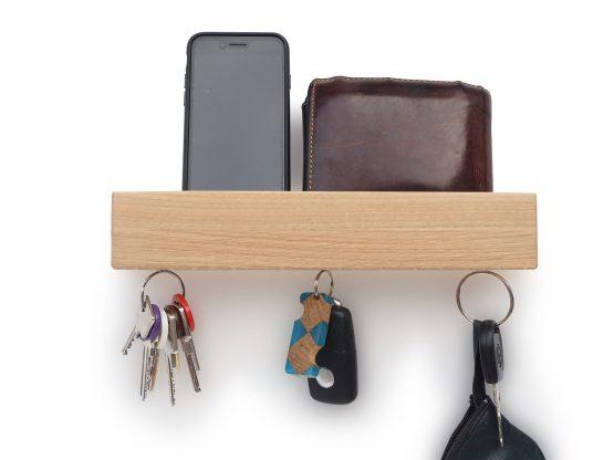 MUDESO Schlüsselbrett, Schlüsselboard, Schlüsselhalter, Keyholder, Schlüsselorganizer, Schlüsselkasten, Schlüsselbrett magnetisch, Schlüsselboard aus Holz, Schlüsselhalter Eichenholz, Modernes Schlüsselboard