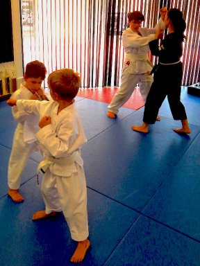 Kids Doing Karate Pairs
