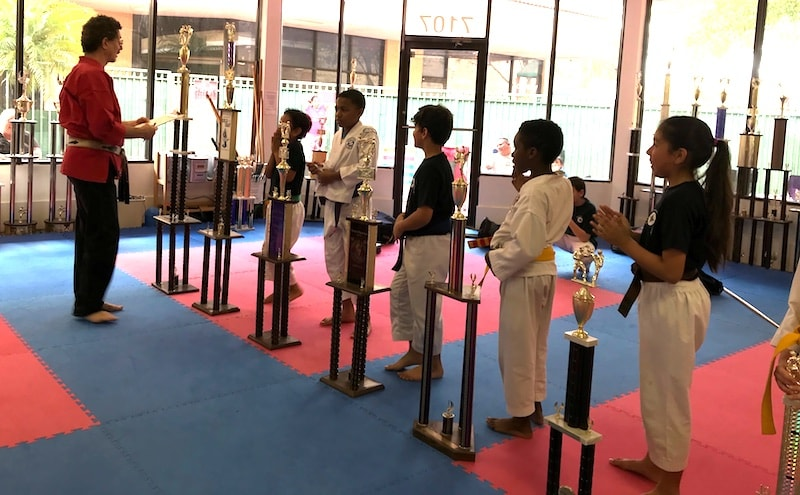 Shiai Competitors with Trophies