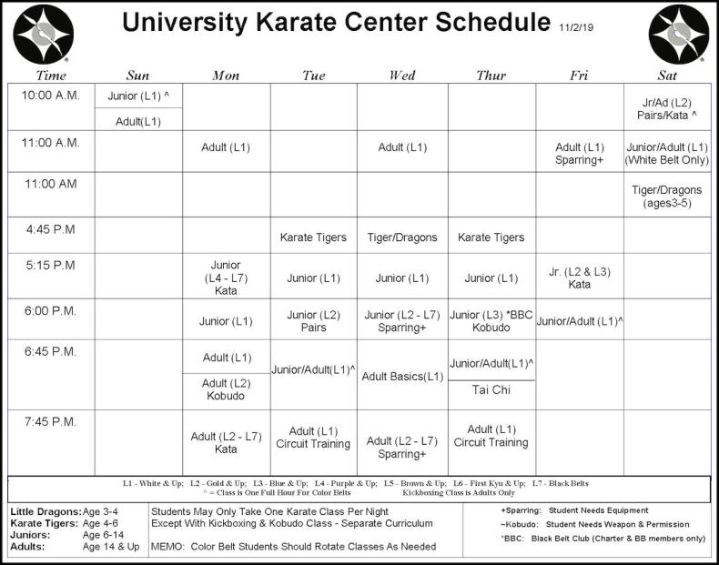 University Karate Center Class Schedule