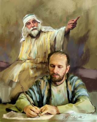 Baruch writing the words of Jeremiah