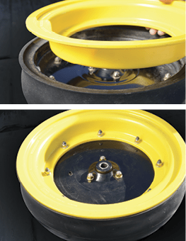 disc cleaner for plugged planter gauge wheels