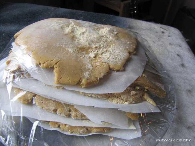 Pollen patties wrapped in plastic. (Jan. 27, 2012.)