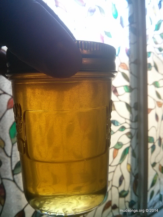 One of many bottles of honey bottled the next day. (Oct. 08, 2014.)
