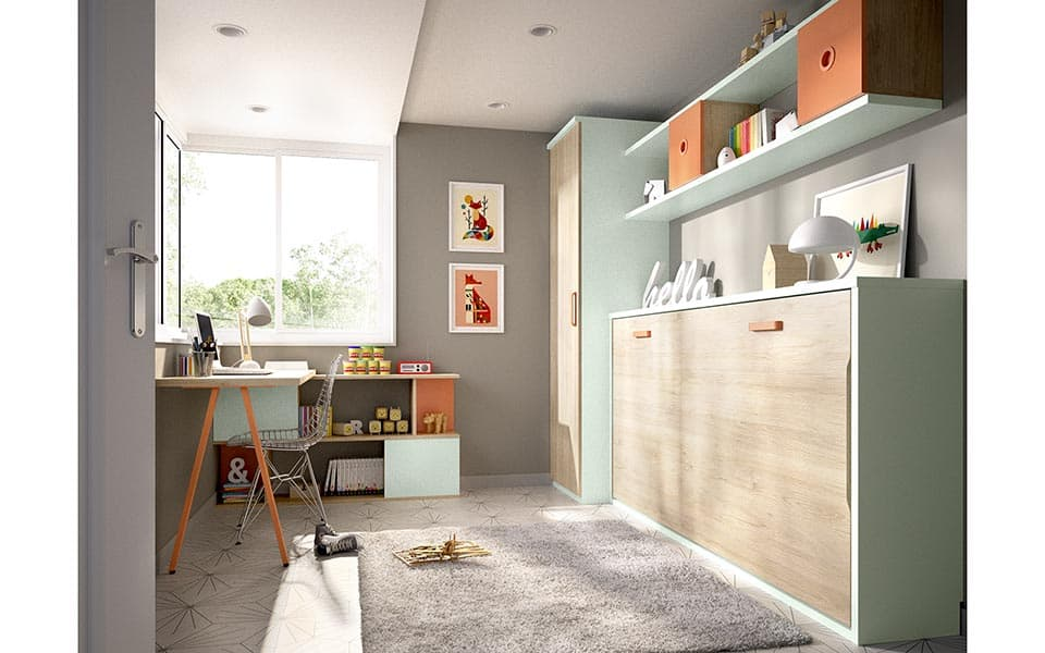 Habitación con cama abatible cerrada en madera y verde