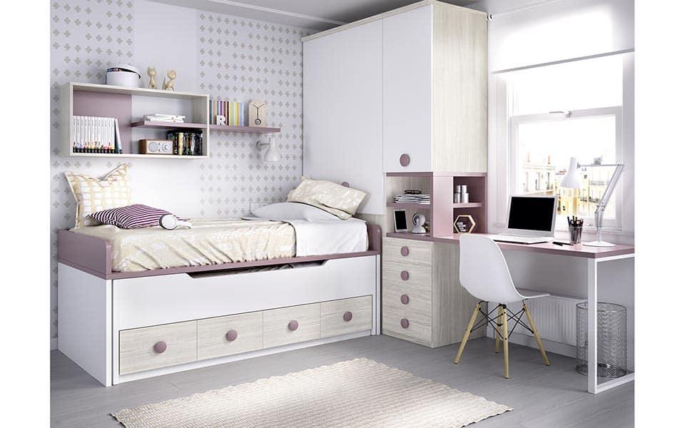 Habitación Juvenil con cama compacta doble en color madera, blanco y rosa