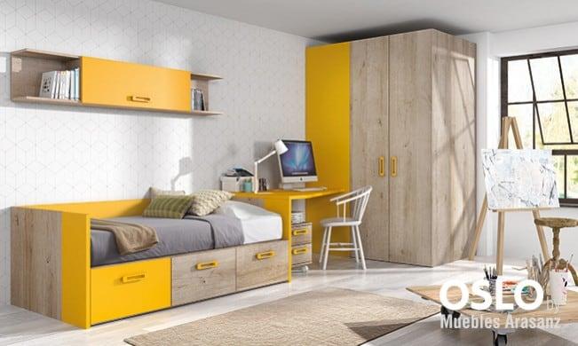 Habitación Juvenil con cama compacta individual en amarillo y madera