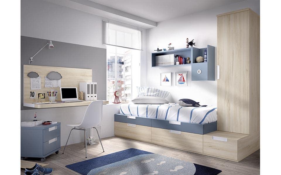 Habitación Juvenil con cama compacta individual en color madera y azul