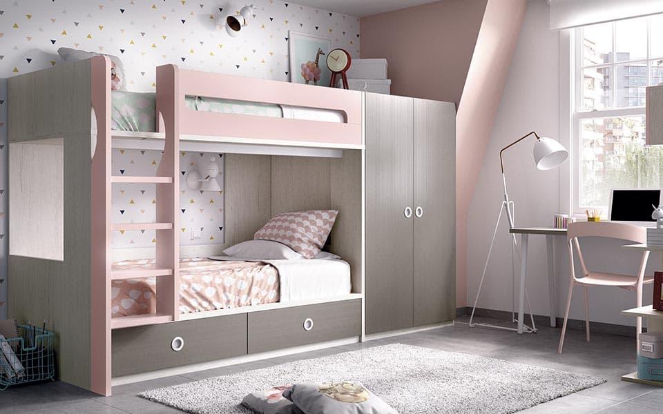 Habitación de niña con literas en gris y rosa