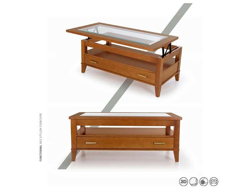 Mesita de salón elevable en color madera
