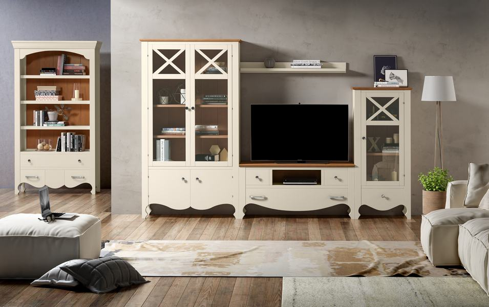 Muebles de salón con estanterías en corte clásico blanco