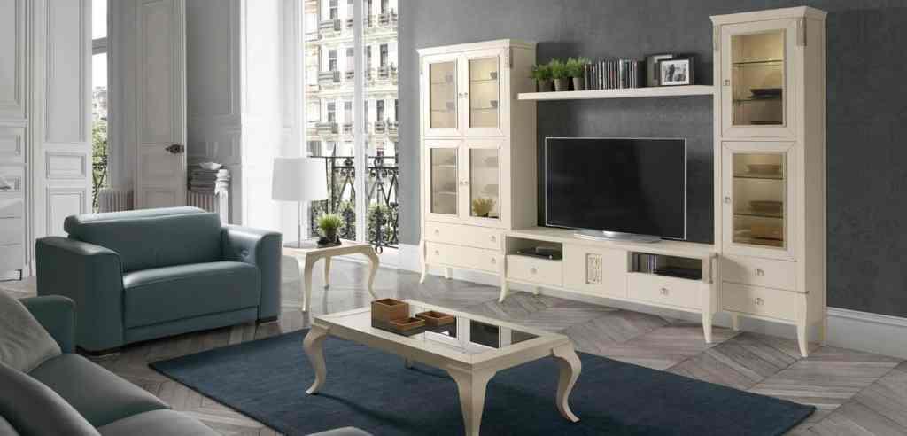 Muebles y mesita de salón estilo clásico blanco
