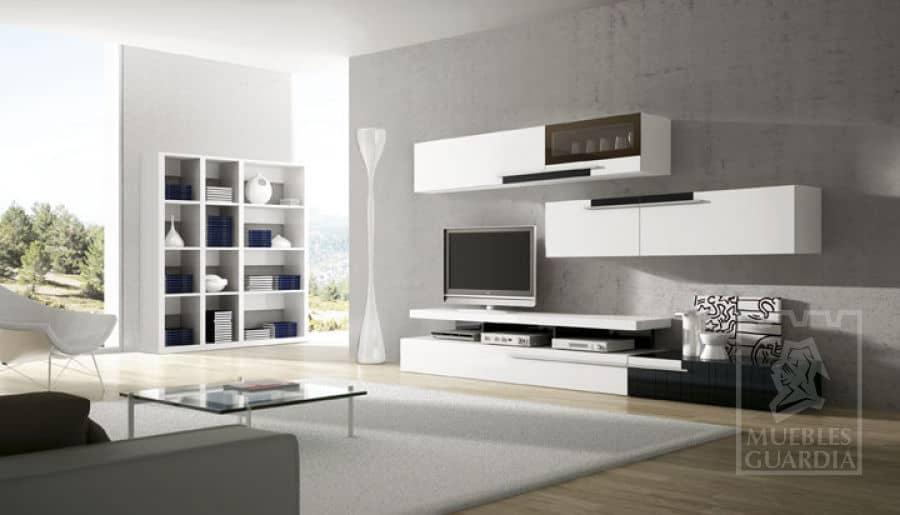 Mueble de salón con estantería en blanco