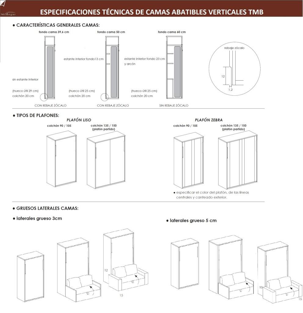 especificaciones tecnicas camas abatibles verticales dormitorio juvenil tmb