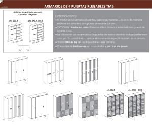 TÉCNICO ARMARIOS DE CUATRO PUERTAS PLEGABLES DORMITORIO JUVENIL TMB