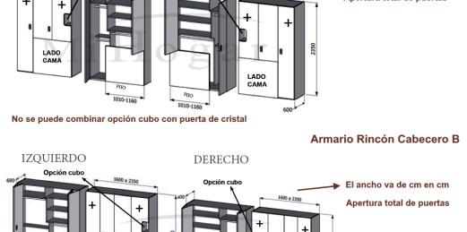 técnico armario rincón cabecero puertas plegables dormitorio juvenil mox
