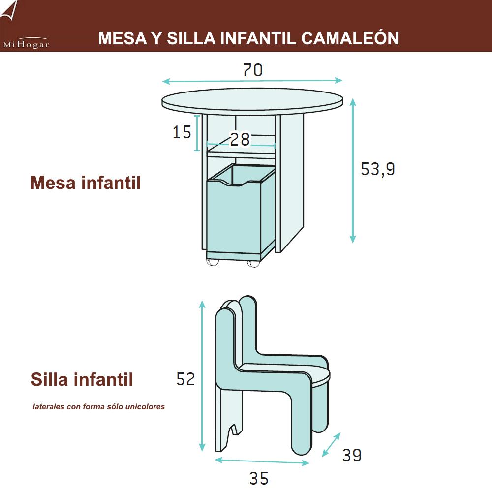 mesa y sillas medidas dormitorios infantiles camaleón