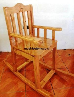 silla mecedora de pino oregon