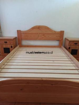 cama 2 plazas hecha con pino oregon